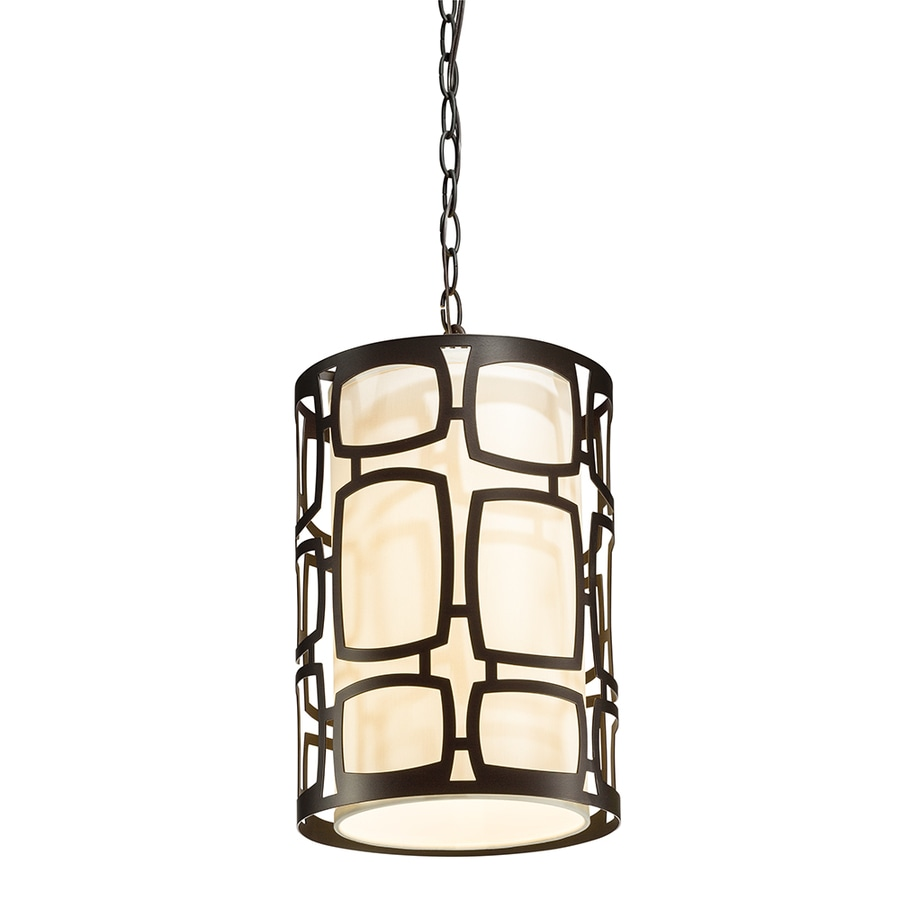 Kichler Sabine 10-in Olde Bronze Art Deco Hardwired Single Cylinder Pendant