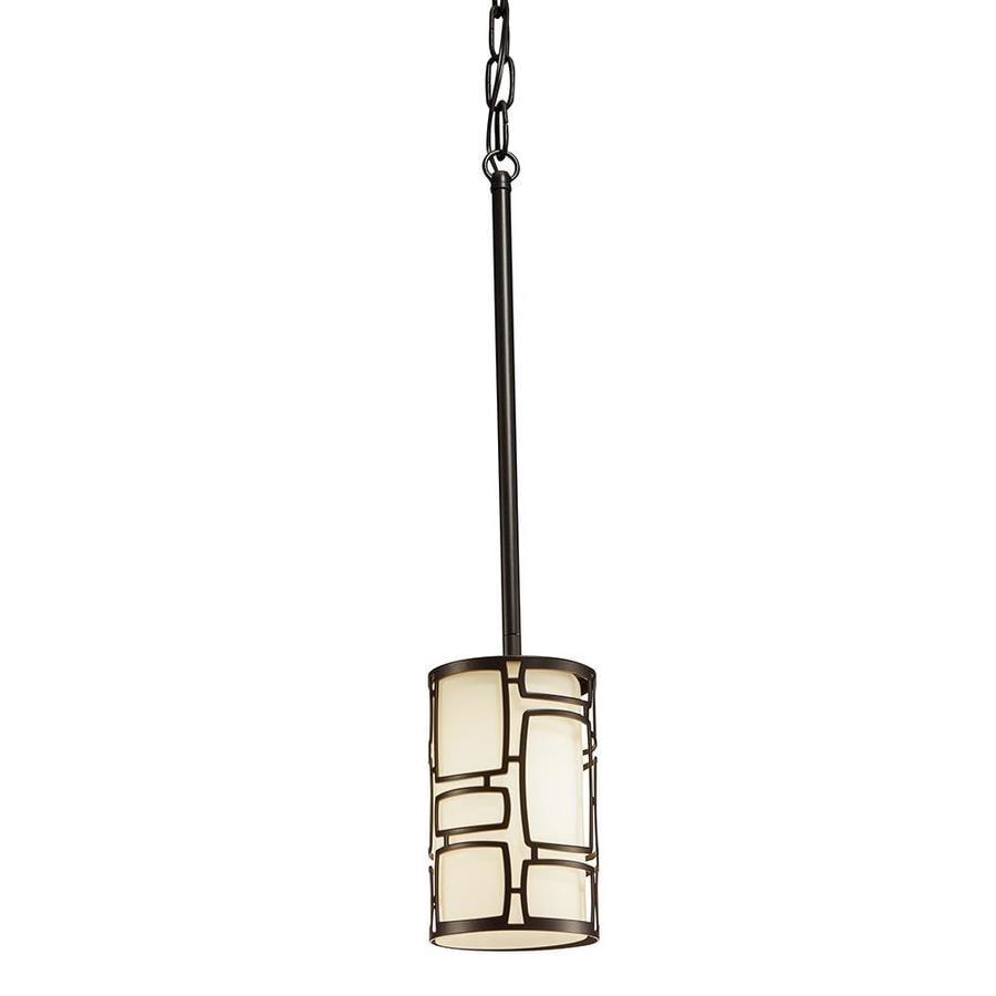 Kichler Sabine 4.25-in Olde Bronze Art Deco Mini Etched Glass Cylinder Pendant