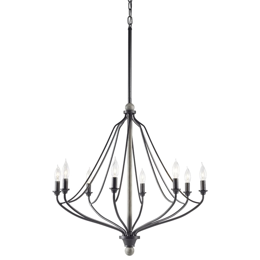 Kichler Carlotta 27.01-in 8-Light Anvil iron and driftwood Williamsburg Candle Chandelier