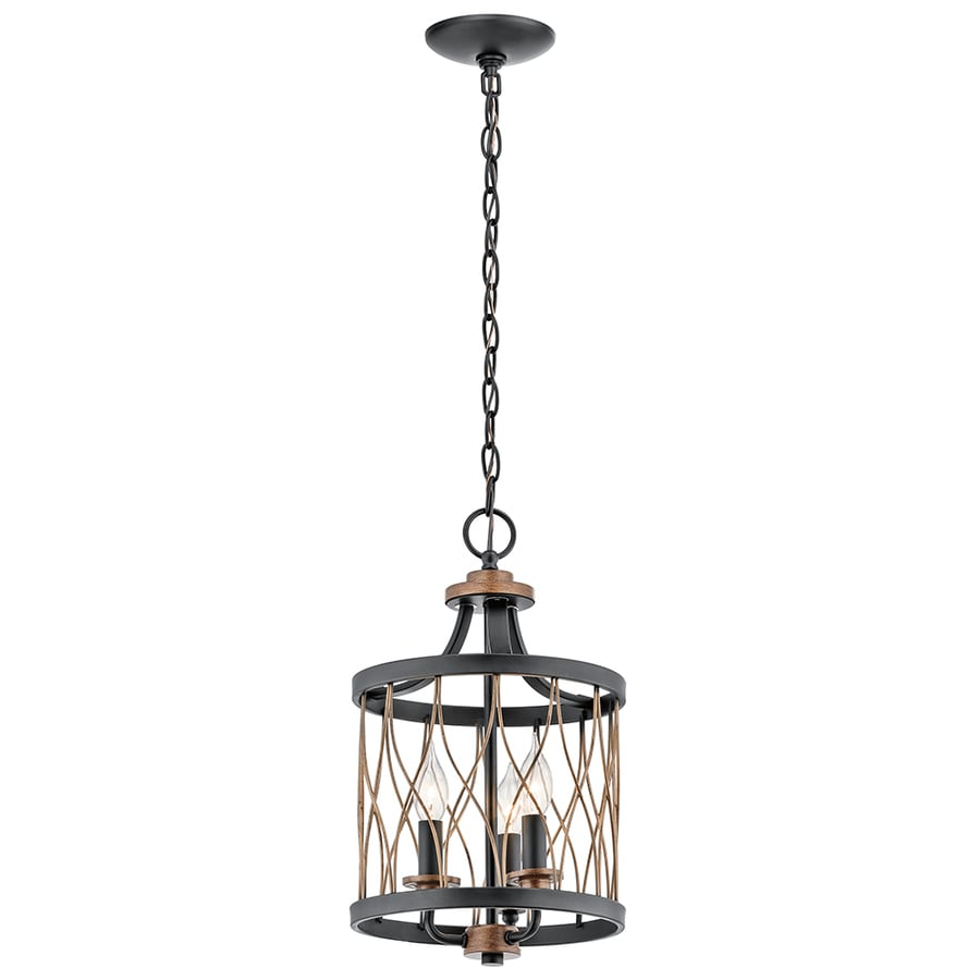 Shop Kichler Brookglen Black With Gold Tone Country Cottage Single Cage Pendant At