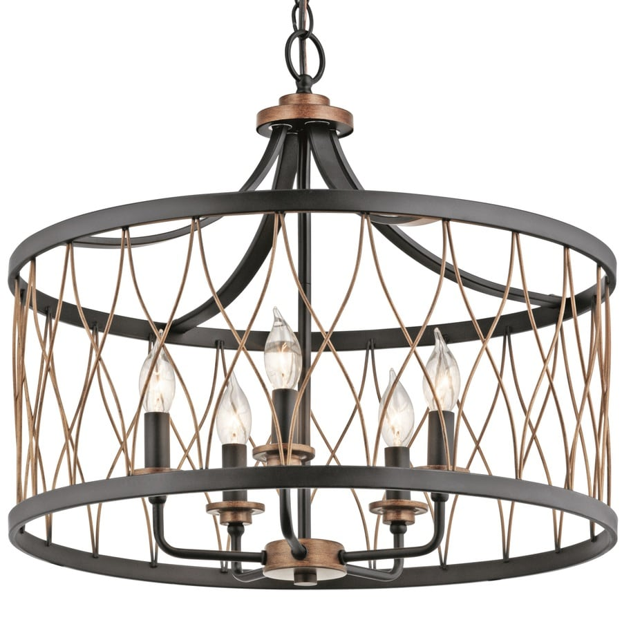 cage lighting. Kichler Brookglen 20.47-in Black With Gold Tone Country Cottage Single Cage Pendant Lighting