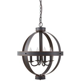 allen + roth Crossburg Oil Rubbed Bronze Single Transitional Orb Pendant Light