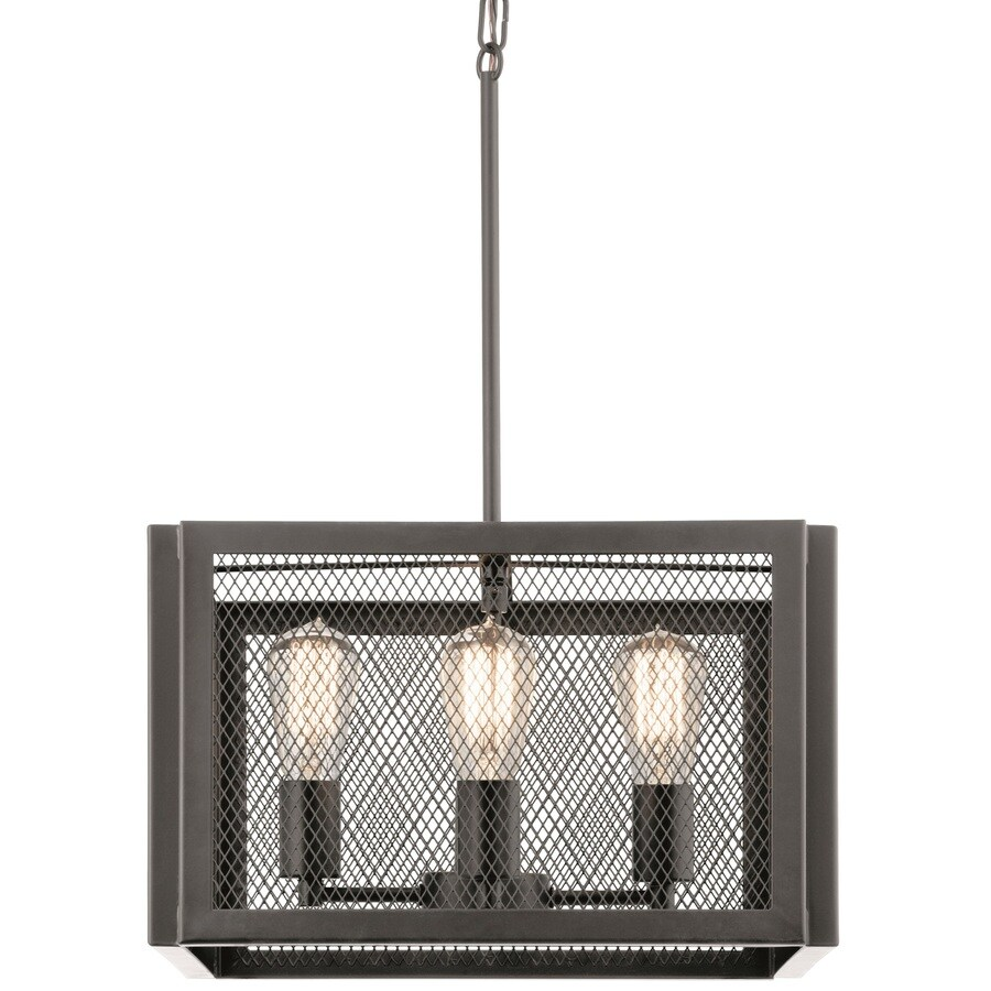 Kichler Saybridge 16-in Bronze Industrial Single Cage Pendant