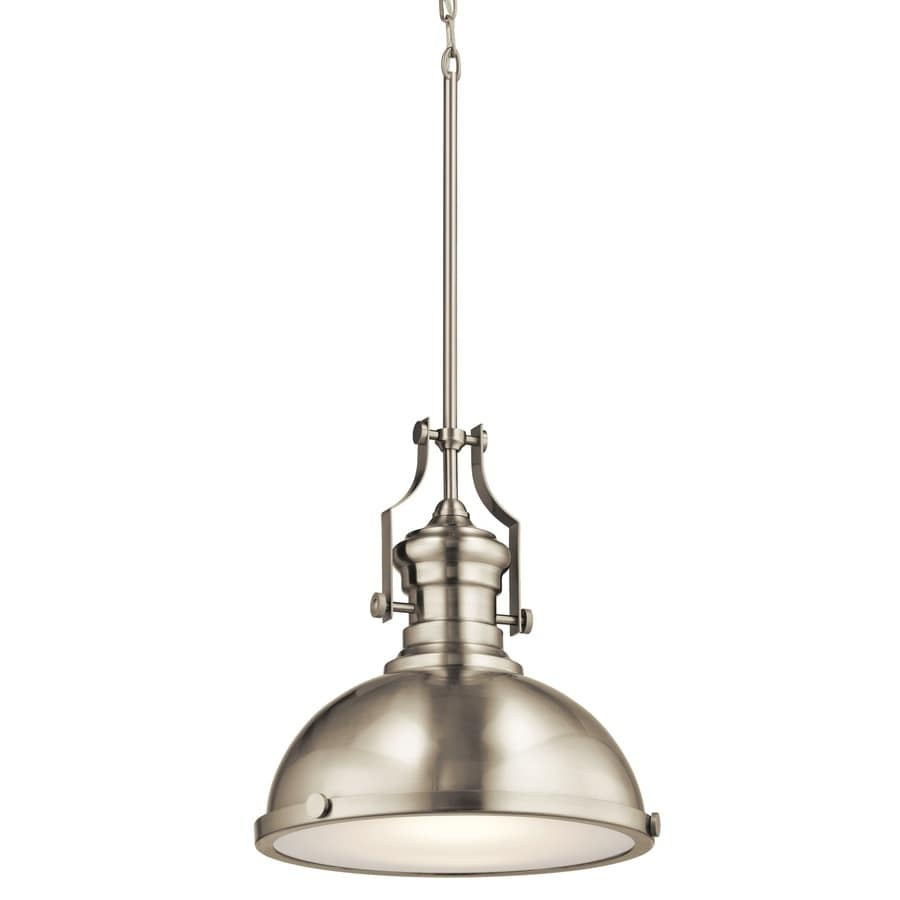 Kichler 12.2-in Satin Nickel Industrial Single Etched Glass Warehouse Pendant