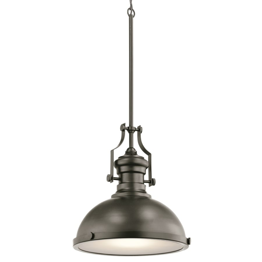 Kichler Lighting 12.2-in Bronze Industrial Single Etched Glass Warehouse Pendant