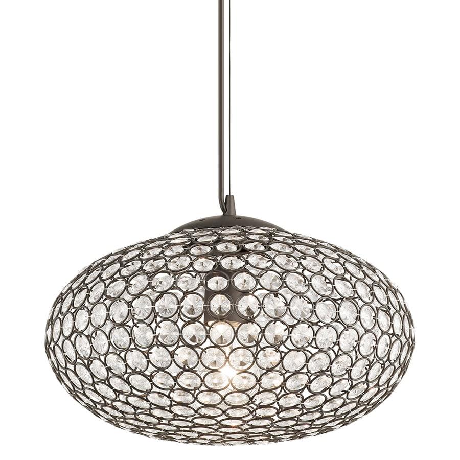 Kichler Krystal Ice 13.75-in Olde Bronze Single Crystal Oval Pendant