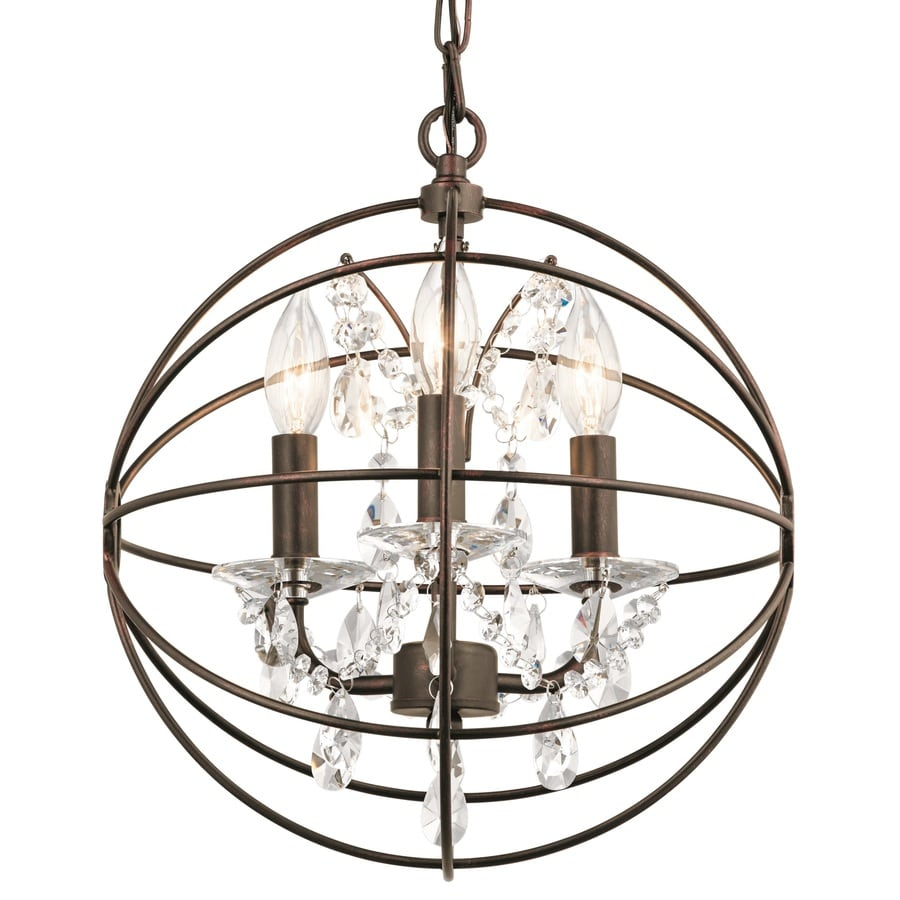 Kichler Lighting Vivian 12.89-in Coffee with Copper Highlights Crystal Single Clear Glass Orb Pendant