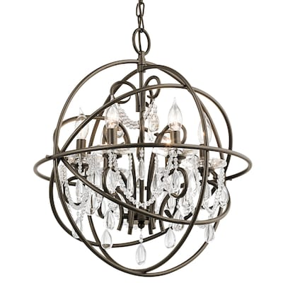 Vivian 6 Light Olde Bronze Modern Contemporary Clear Gl Globe Chandelier
