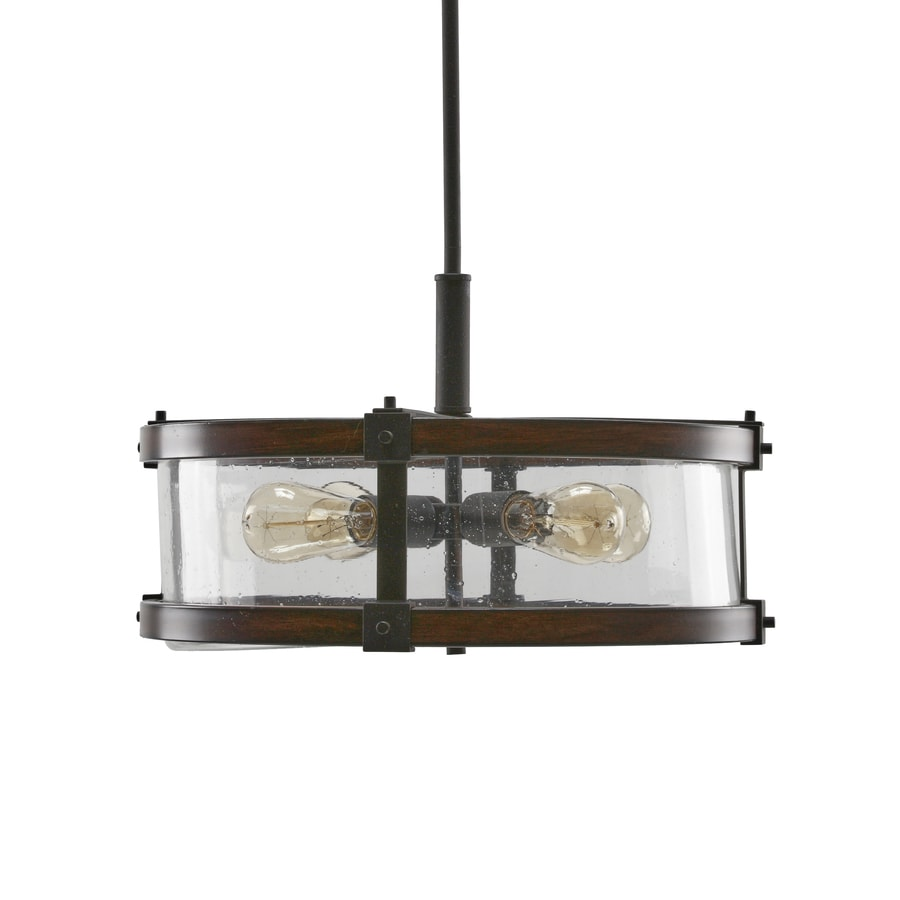Kichler Barrington 18-in Distressed Black and Wood Rustic Hardwired Single Seeded Glass Drum Pendant