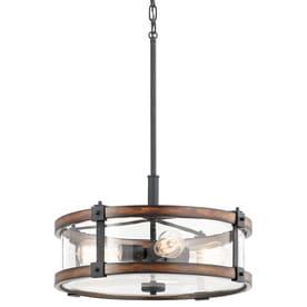 Kichler Barrington Distressed Black And Wood Tone Single Rustic Seeded  Glass Drum Pendant Light