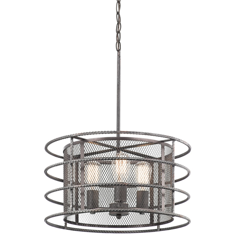 Kichler Ramida 18.12-in Antique Steel Industrial Single Drum Pendant