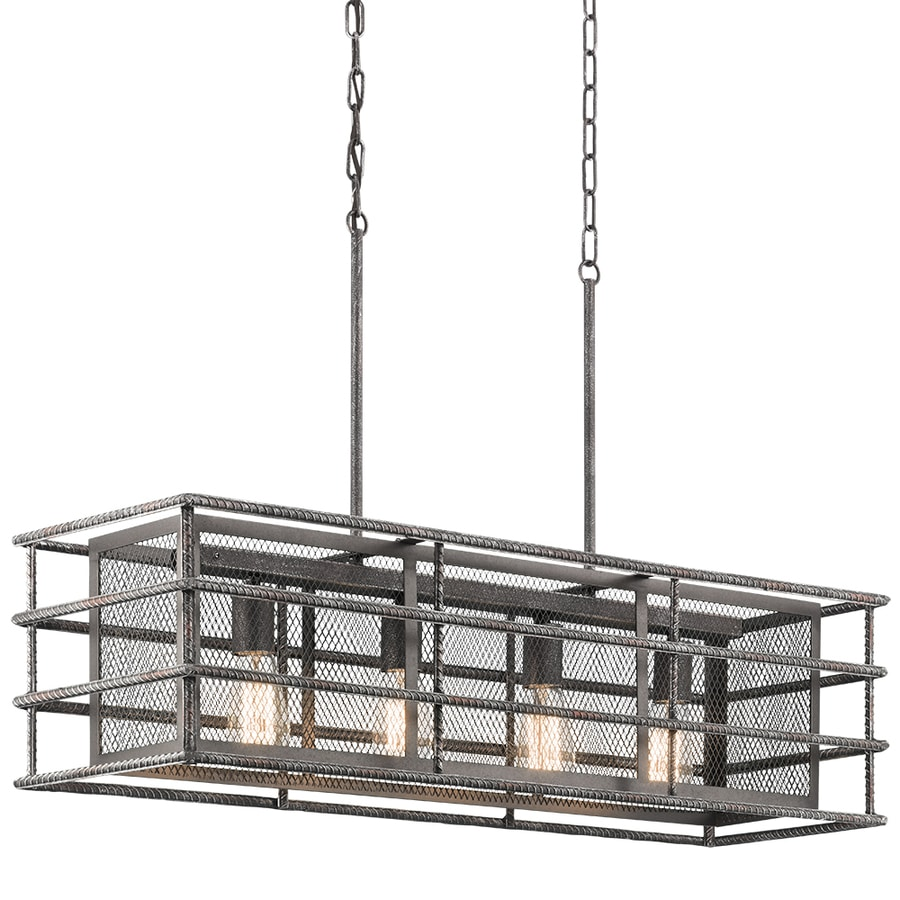 Kichler Ramida 36-in Antique Steel Industrial Hardwired Linear Rectangle Pendant