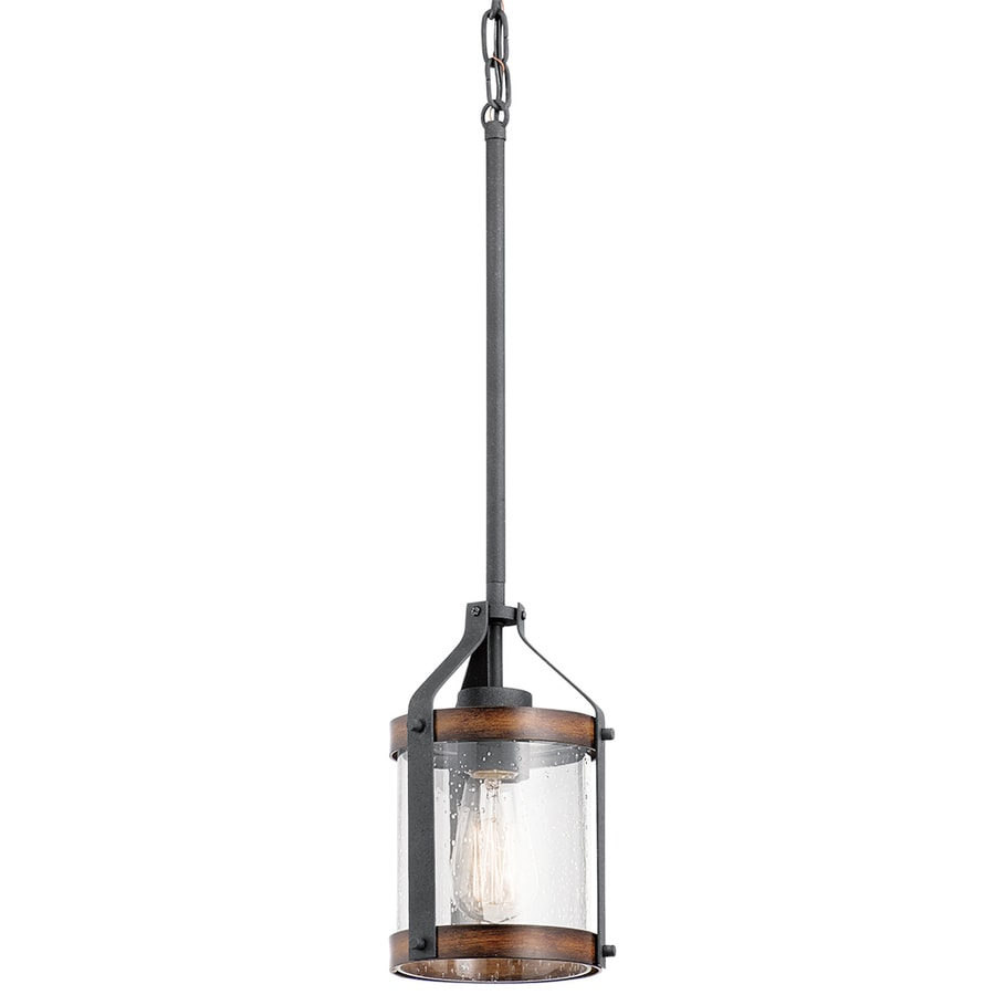 Kichler Barrington 5.5 In Distressed Black And Wood Rustic Mini Seeded  Glass Cylinder Pendant
