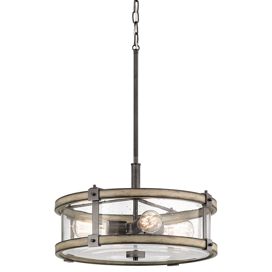 Kichler Lighting Barrington 18-in Anvil Iron and Driftwood Rustic Single Seeded Glass Drum Pendant