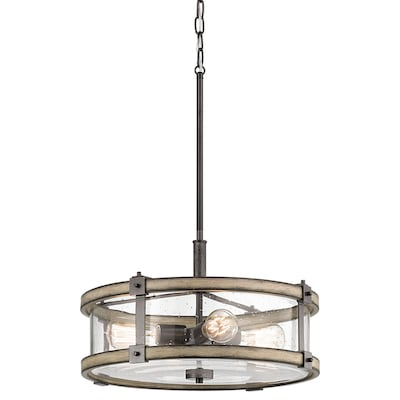 Barrington Anvil Iron And Distressed Antique Grey Rustic Seeded Gl Drum Pendant Light