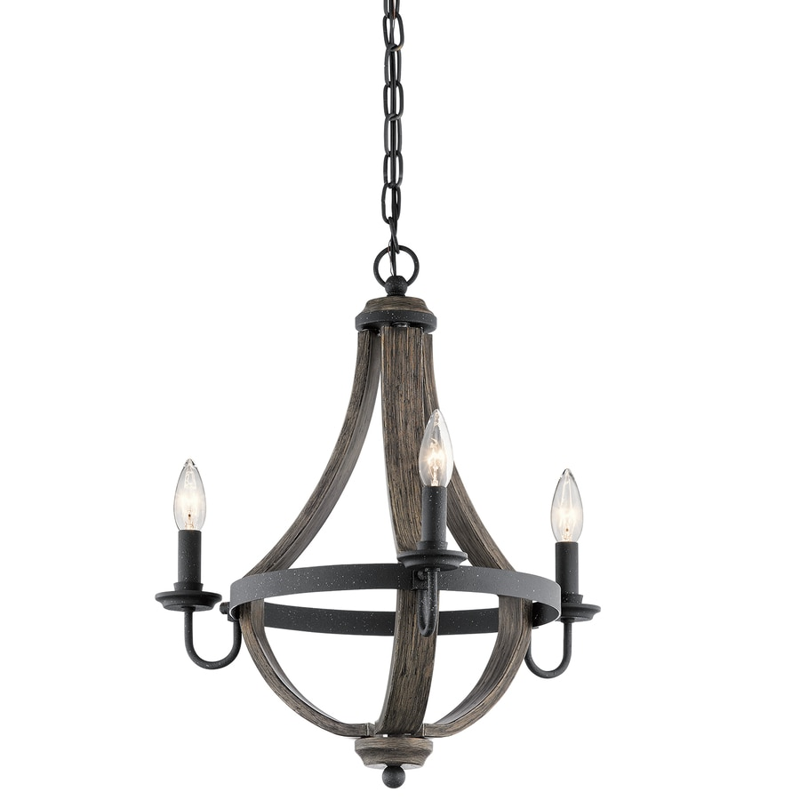 Kichler Merlot 18.7-in 3-Light Distressed Black and Wood Barn Candle Mini Chandelier