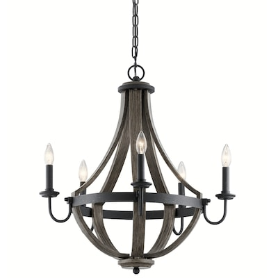 Merlot 5 Light Distressed Black And Wood Farmhouse Candle Chandelier