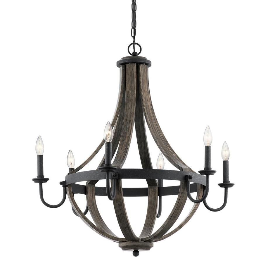 Shop kichler merlot 30 in 6 light distressed black and wood barn kichler merlot 30 in 6 light distressed black and wood barn candle chandelier aloadofball Image collections