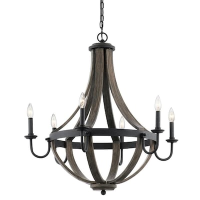 Merlot 6 Light Distressed Black And Wood Farmhouse Candle Chandelier