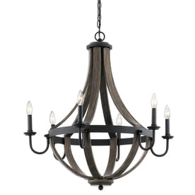 Shop chandeliers at lowes kichler merlot 30 in 6 light distressed black and wood barn candle chandelier aloadofball Choice Image