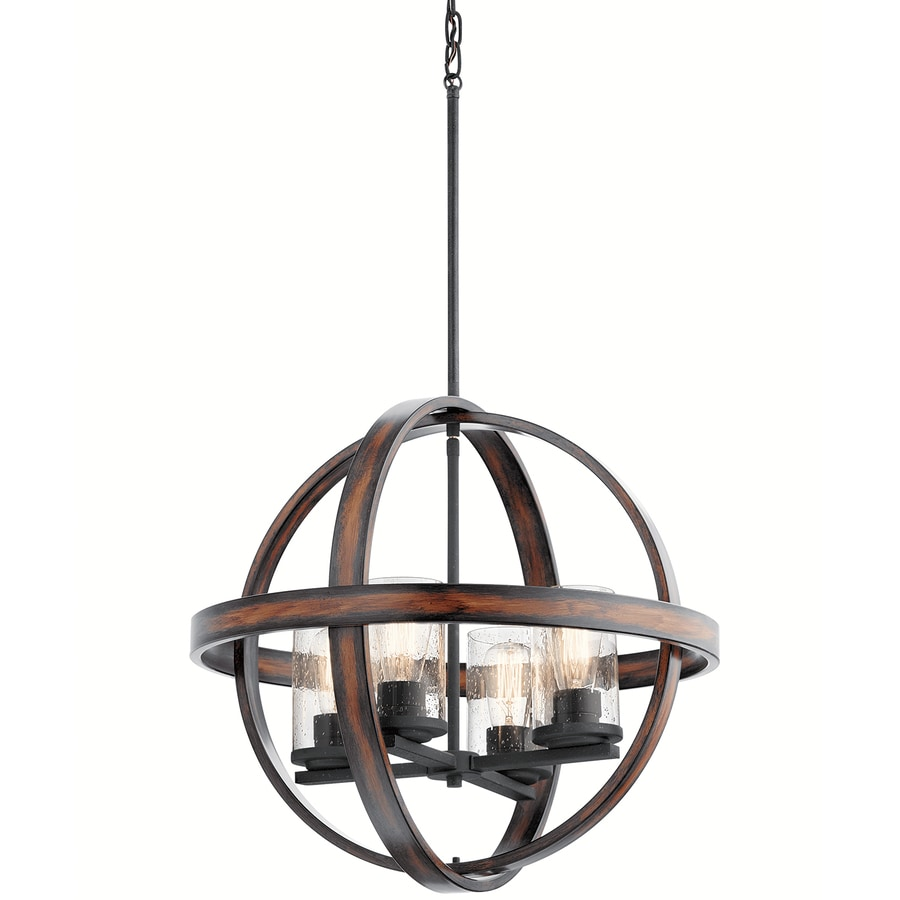 Kichler Barrington 2125 In Distressed Black And Wood Art Deco Single Seeded Glass Orb Pendant