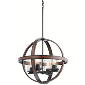 6250ee723d3 Kichler Barrington Distressed Black and WoOD Single Rustic Seeded Glass Orb Pendant  Light