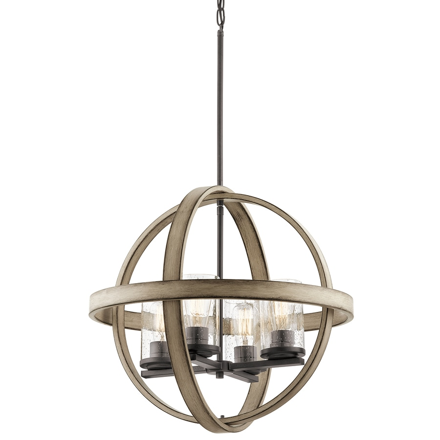 Kichler Barrington 21.22-in Anvil Iron And Driftwood Art Deco Hardwired Single Seeded Glass Orb Standard Pendant