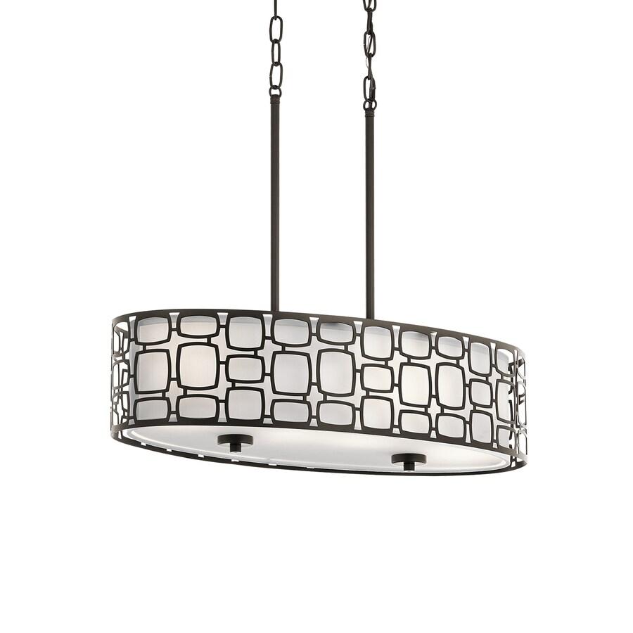 Kichler Sabine 26-in Olde Bronze Art Deco Linear Etched Glass Drum Pendant