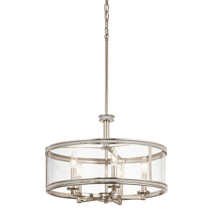 Kichler Angelica 20-in Polished nickel Industrial Hardwired Single Clear Glass Cylinder Standard Pendant