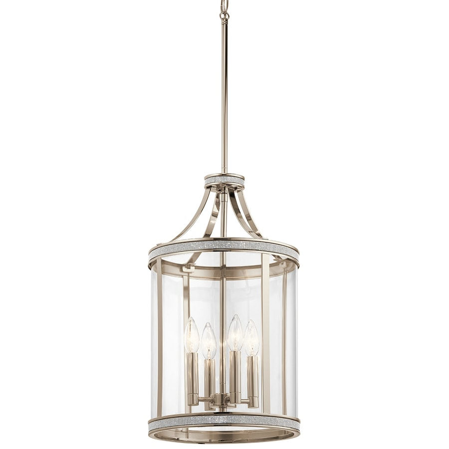 Kichler Angelica 12-in Polished Nickel Industrial Single Clear Glass Cylinder Pendant