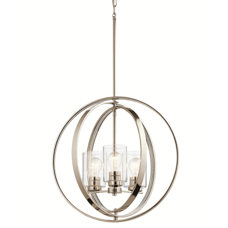 kichler 20in polished nickel art deco hardwired single clear glass orb standard pendant - Clear Glass Pendant Light