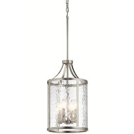 Shop pendant lighting at lowes kichler marita 12 in brushed nickel industrial hardwired multi light clear glass cage pendant aloadofball Image collections