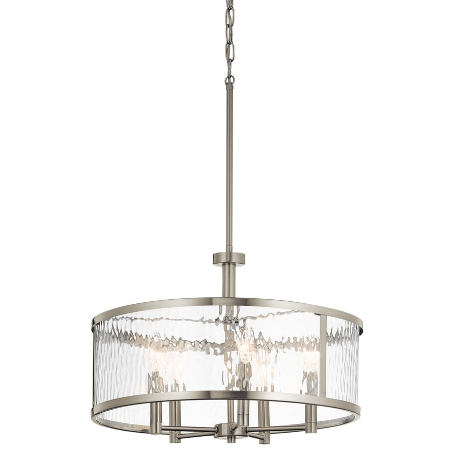 Shop pendant lighting at lowes kichler marita 20 in brushed nickel industrial hardwired multi light clear glass cylinder pendant mozeypictures Image collections