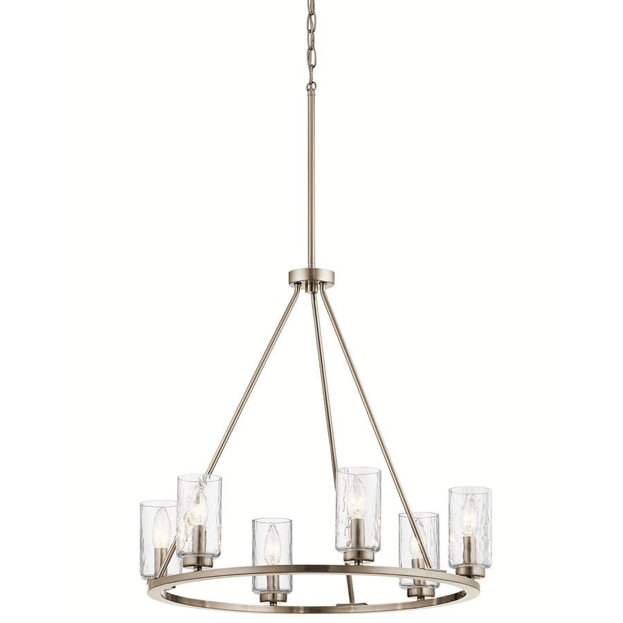 Shop kichler marita 6 light brushed nickel vintage clear glass shaded chandelier at - Can light chandelier ...
