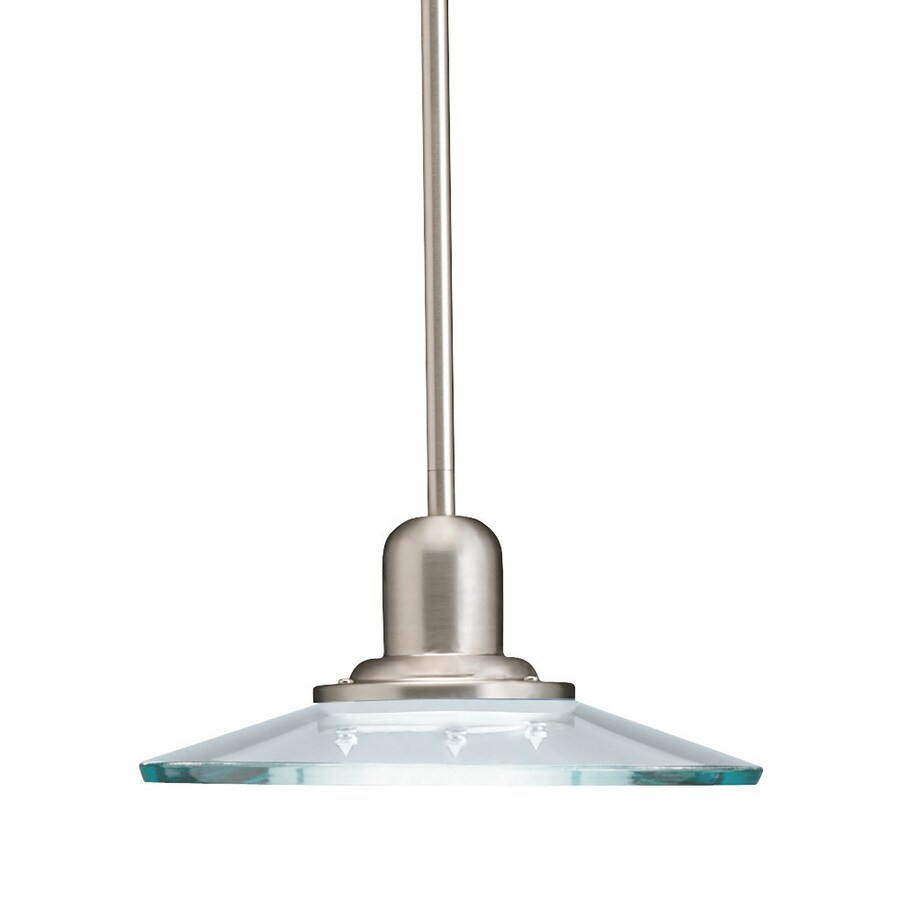 Shop allen + roth Galileo 10-in Brushed Nickel Coastal Mini Clear Glass Cone Pendant at Lowes.com