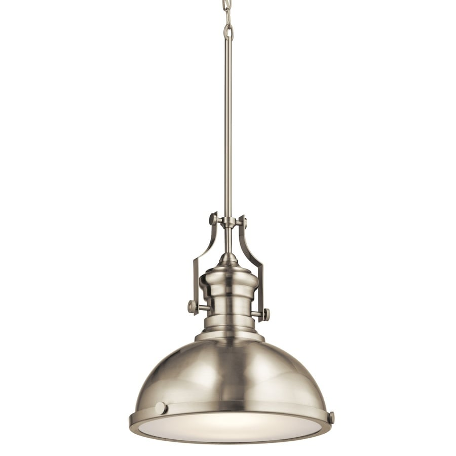 Shop pendant lighting at lowes kichler 122 in industrial single frosted glass dome led pendant arubaitofo Choice Image