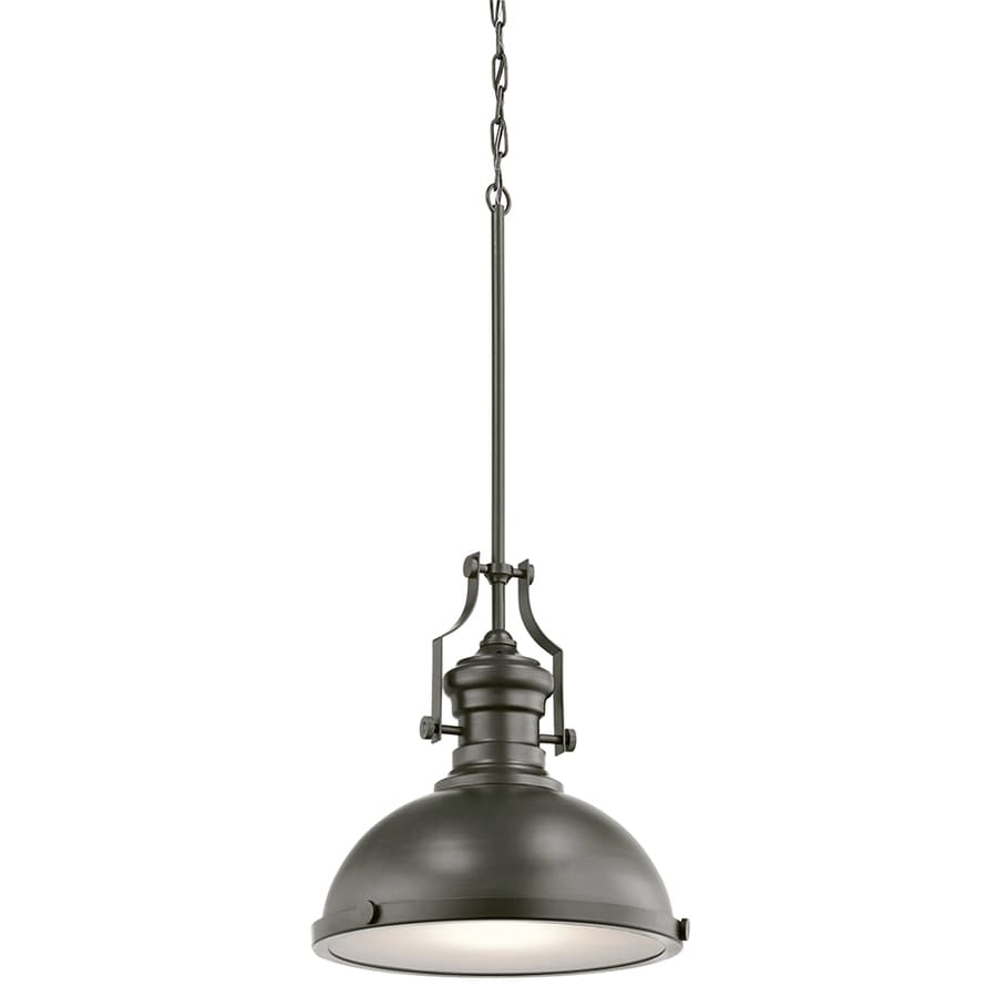 Kichler 12.2-in Bronze Industrial Single Etched Glass Dome Pendant