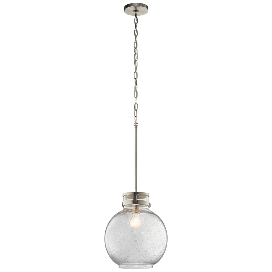 Kichler 12-in Brushed Nickel Industrial Single Seeded Glass Globe Pendant