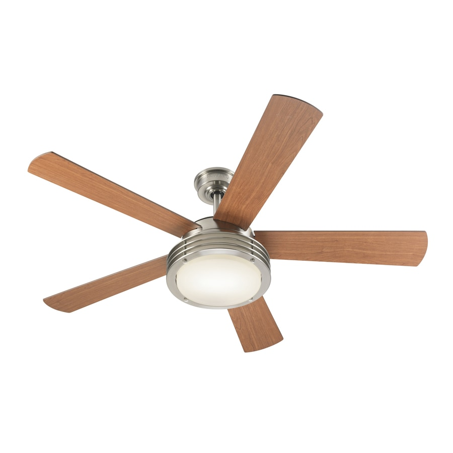Harbor Breeze Poets Cove 52-in Brushed Nickel Downrod Mount Indoor Ceiling Fan with Light Kit and Remote