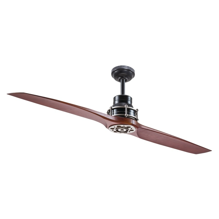 Shop Kichler 56-in Satin black with antique pewter accents Indoor Downrod Mount Ceiling Fan and ...