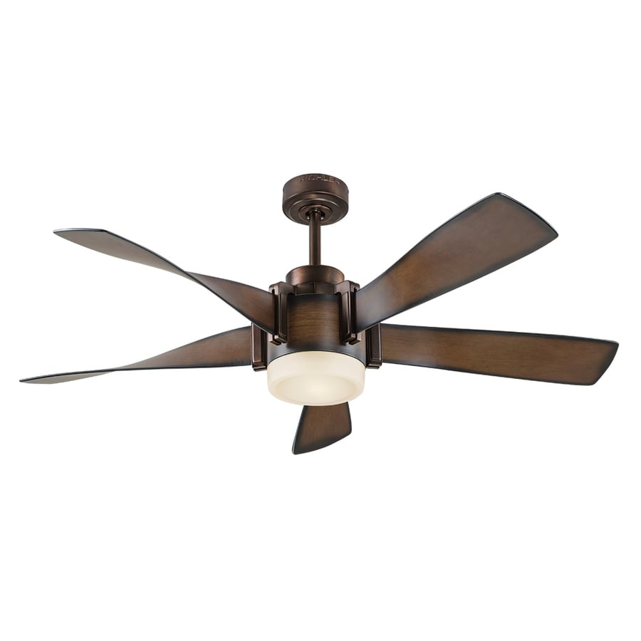 Shop ceiling fans at lowes kichler 52 in mediterranean walnut with bronze accents integrated led indoor downrod mount ceiling fan aloadofball Image collections
