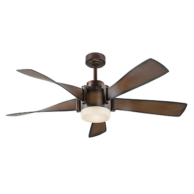 52 In Brown Led Indoor Residential Ceiling Fan With Light Kit Included And Remote Control 5 Blade