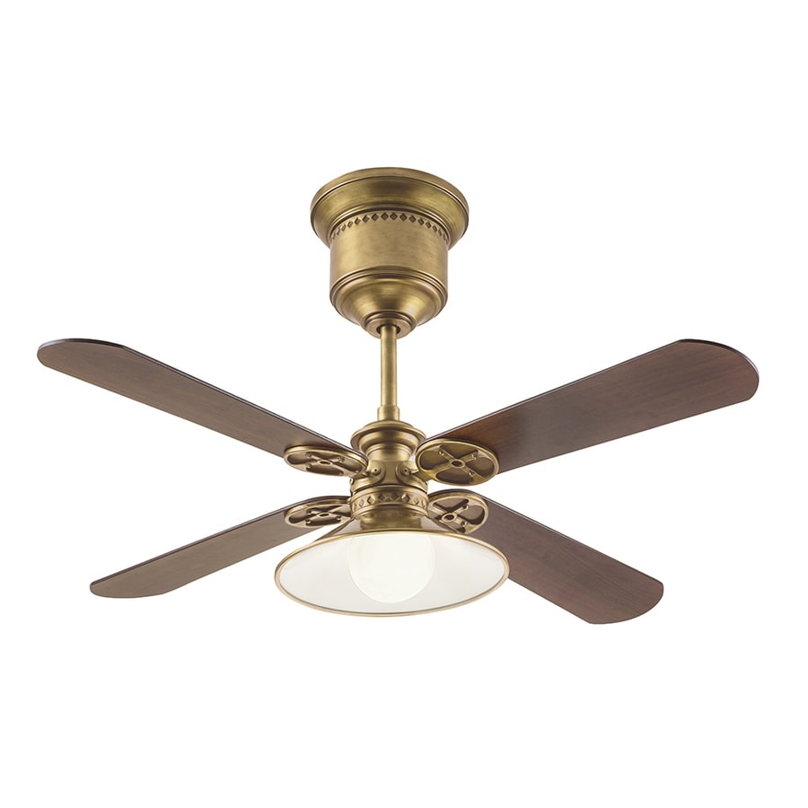Kichler 52-in Natural Brass Downrod Mount Indoor Ceiling Fan with Light Kit and Remote (4-Blade)