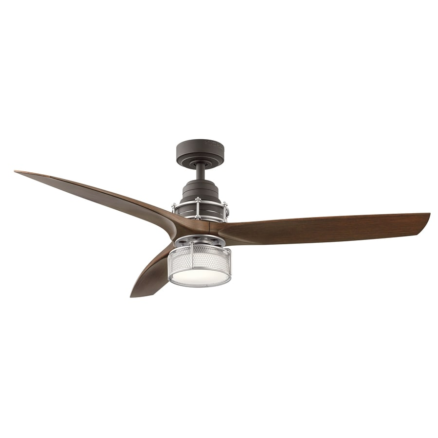 Kichler 54-in Satin Natural Bronze with Brushed Nickel Accents Downrod Mount Indoor Ceiling Fan with LED Light Kit and Remote (3-Blade)