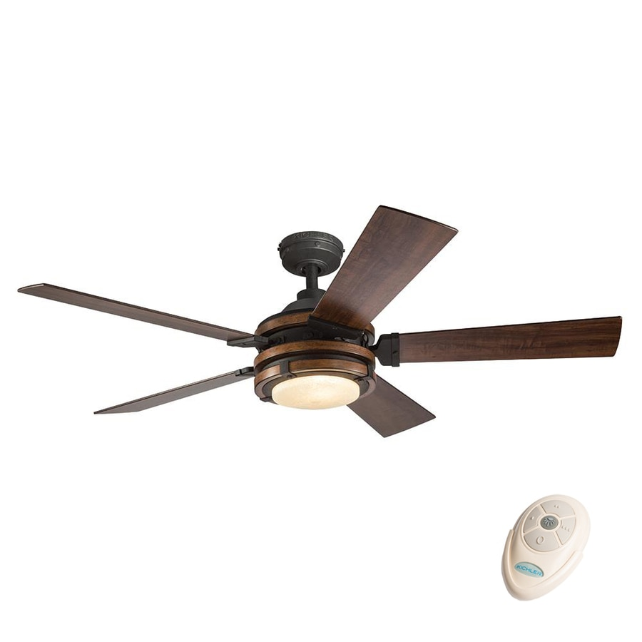 Kichler Barrington 52 In Distressed Black And Wood Indoor Downrod Mount Ceiling Fan With Light
