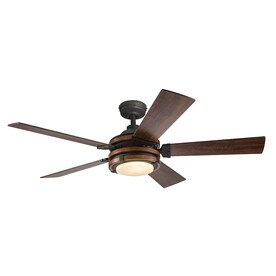 kichler lighting barrington 52 in distressed black and wood downrod or close mount indoor ceiling ceiling fan