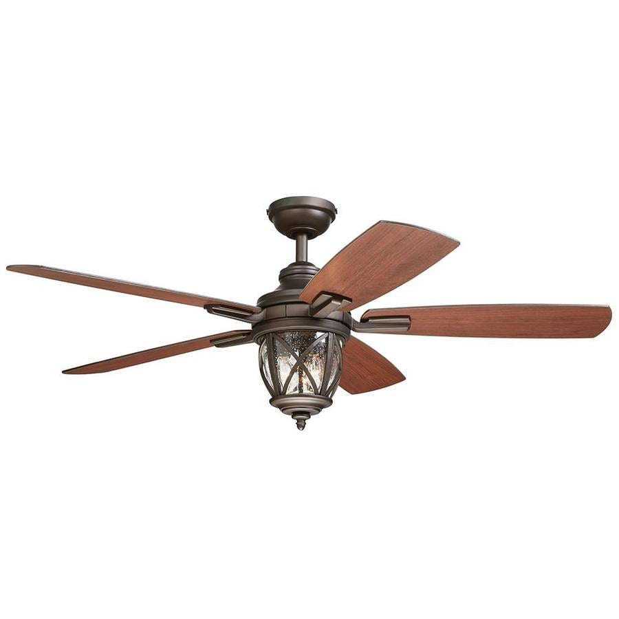 Outdoor Ceiling Fan With Light And Remote Shop allen roth castine 52 in rubbed bronze indooroutdoor downrod allen roth castine 52 in rubbed bronze indooroutdoor downrod or close mount workwithnaturefo