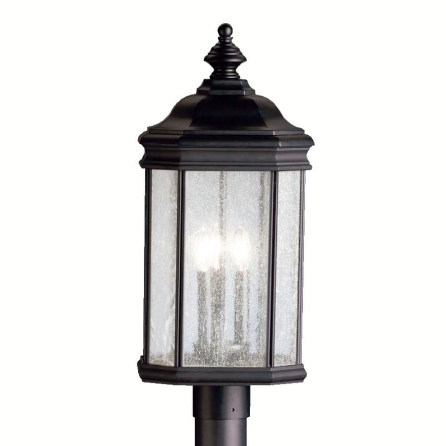 Shop portfolio kirkwood 23 5 in h black post light at for Outdoor living kirkwood