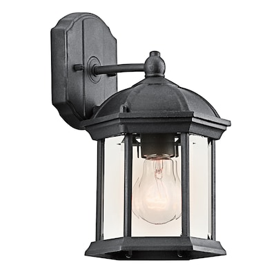 H Black Outdoor Wall Light At Lowes