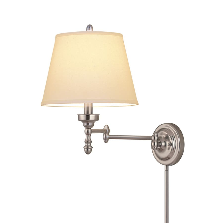 Shop allen + roth 15.62-in H Brushed Nickel Swing-Arm Wall-Mounted Lamp with Fabric Shade at ...